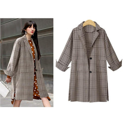 Autumn Plaid! Long Sleeve Loose Fitting Over Coat, Women Coat Plus Size Fall Outer 2018-TownTiger
