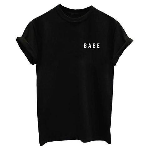 Babe!Short Sleeve T-shirt, Women Tops, Girl's T-shirt, Tee,3 Colors-TownTiger