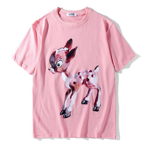 Bambi and Flowers!Short Sleeve T-shirt, Unisex Tees, Couple's T-shirt, Street Fashion Tee-TownTiger