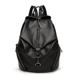 Barrels Back Black ! PU Leather Backpack Bags, Lychee Pattern-TownTiger