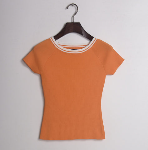 Basic Pullover Round Neck!Short Sleeve Knitting Tops, Women Knitwear, Summer-TownTiger