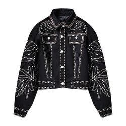 Beads! Luxury Jacket with Beads and Rhinestones Pattern, Women Bomber Jacket Tops-TownTiger