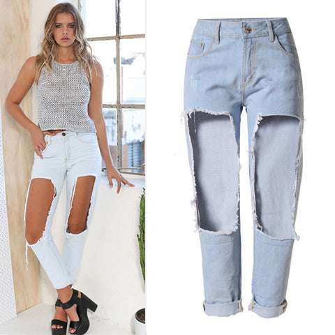 Big Hollow-Out! Straight Leg Jeans, Denim, Bottoms, Women Jeans, Femme Bottoms-TownTiger
