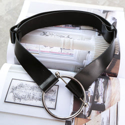 Big Loop! All-Match Cool Black Leather Belt for Women with a Unique Round Buckle-TownTiger