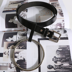 Big Loop! All-Match Cool Black Leather Belt for Women with a Unique Round Ring-TownTiger