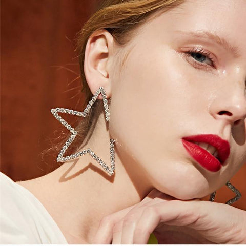 Big Star! Style Dangle Drop Earrings for Women with Star Shape, Rhinestones-TownTiger