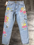 Birdie and Flowers! Distressed Blue Jeans, Embroidered Denim, Women Jeans, Femme Bottoms-TownTiger