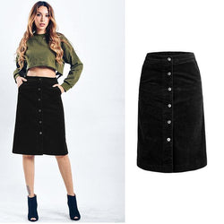 Black Corduroy! Style Skirt Women Skirt with Corduroy, Denim Skirt-TownTiger
