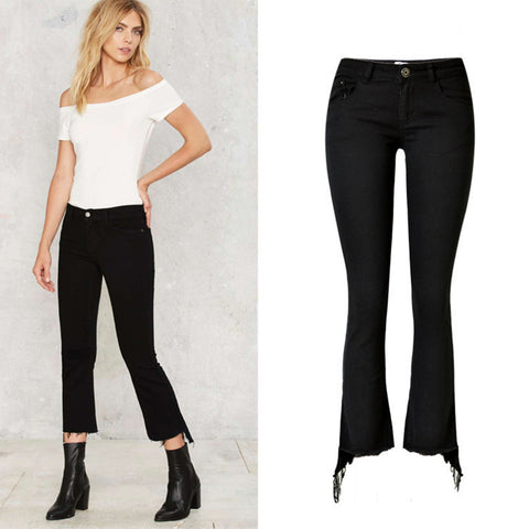 Black Denim Bell-Bottom! Jeans, Denim, Hip-Hugger, Women Jeans, Femme Bottoms,Pants-TownTiger