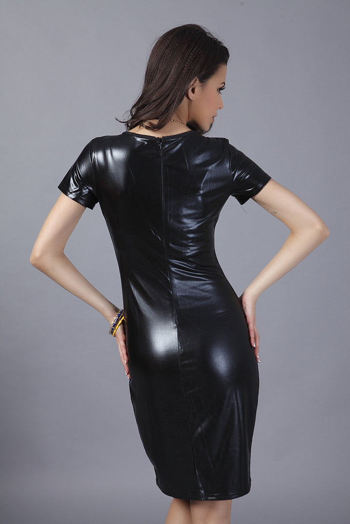 Black Patent Dress Cool Eye Catching Tight Faux Patent