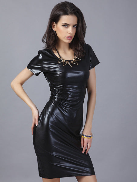 Black Patent Dress! Cool Eye-Catching Tight Faux Patent-Leather Dress, Patent Leather Dresses-TownTiger