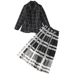 Black Plaid! Long Sleeve Blazer and Long Chiffon Skirt 2-Piece, Women Dresses, BW-TownTiger