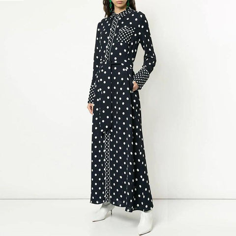 Black Polka! Long Sleeve Fall Winter Dress , Women Long Dresses with Polka Dots-TownTiger