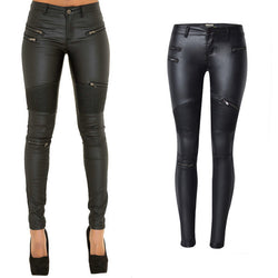 Black PU Skinny Motocycle! Leather Pants, Bottoms, Women Jeans, Femme Bottoms, Pants Trousers-TownTiger