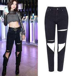 Black Ripped! Black Ripped Jeans, Denim, Bottoms, Women Jeans, Femme Bottoms, Pants Trousers-TownTiger