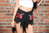 Black Ripped Flower! Embroidery Jeans Shorts, Denim, Bottoms, Women Jeans, Femme Bottoms, Hot Pants-TownTiger
