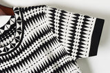 Black Stripes! Short Sleeve Knitting Dress, Women Knitwear, Knit Black and White-TownTiger