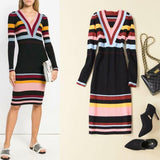 Black Stripes! Striped Long Sleeve Knit Dresses, Women Ribbed Tight Long Dresses