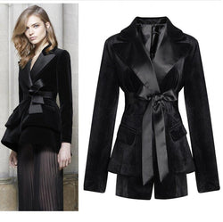 Black Tie! Long Sleeve Women Velvet Suit Blazer, Women Office Fashion Top Jacket-TownTiger