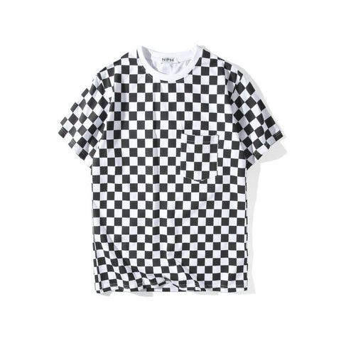 Black&White Checks!Short Sleeve T-shirt, Unisex Tees, Couple's T-shirt, Street Fashion Tee-TownTiger