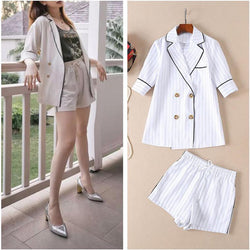 Blazer and Shorts! Striped Blazer and Shorts 2-Piece Set, Women Jacket, Resort Set Shorts-TownTiger