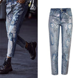 BlingBling!Blue Jeans Denim with Sequins, Ripped Women Jeans, Femme Bottoms, Pants Trousers-TownTiger