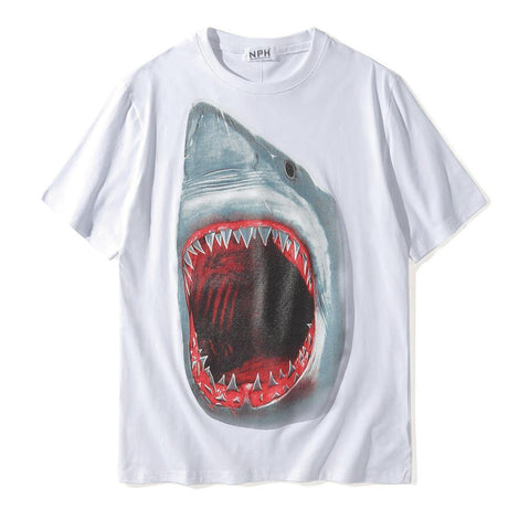Bloody Mouth Shark!Short Sleeve T-shirt, Unisex Tees, Couple's T-shirt, Street Fashion Tee-TownTiger