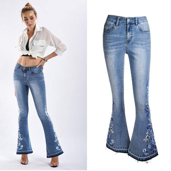 Blue Embroidery Floral Bells! Light Blue Bell-Bottom Jeans, Embroidered Denim, Bottoms, Women Jeans, Femme Bottoms, Pants Trousers-TownTiger