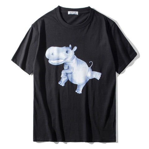 Blue Hippo! Short Sleeve T-shirt, Unisex Tees, Couple's T-shirt, Street Fashion Tee Shirt-TownTiger