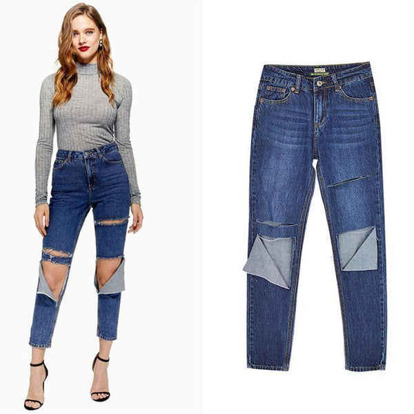 Blue Ripped! Blue Ripped Jeans, Denim, Bottoms, Women Jeans, Femme Bottoms, Pants Trousers-TownTiger