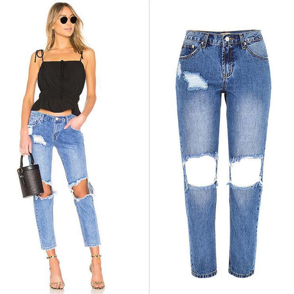 Blue Ripped Knee! Light Blue Ripped Jeans, Denim, Bottoms, Women Jeans, Femme Bottoms, Pants Trousers-TownTiger