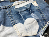 Blue Shorts Hearts!Blue Jeans,Printed Denim Hot Pants, Bottoms,Femme Bottoms-TownTiger