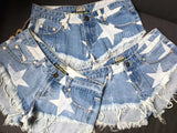 Blue Shorts Stars!Blue Jeans,Printed Denim Hot Pants, Bottoms,Femme Bottoms-TownTiger