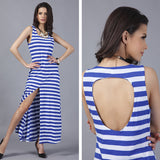Blue Sripes Dress! Long Tank Dresses with Black-White Stripes Pattern, Back Hollow-Out, Big Slit, Thign Split-TownTiger