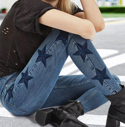Blue Stars!Blue Skinny Jeans, Denim, Bottoms, Women Jeans, Femme Bottoms, Pants Trousers-TownTiger