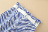 Blue Stripes! Blue Striped Show-Shoulder Strap Tops and Capri Pants 2-Piece Set, Women Dresses-TownTiger