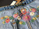 Boho Floral Embroidery!Blue Jeans, Denim, Bottoms, Women Jeans, Femme Bottoms, Hot Pants-TownTiger