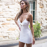 Breast Tie! Solid Color Sexy Brace Dress, Women Slip Dresses Summer Strap Short Dress-TownTiger
