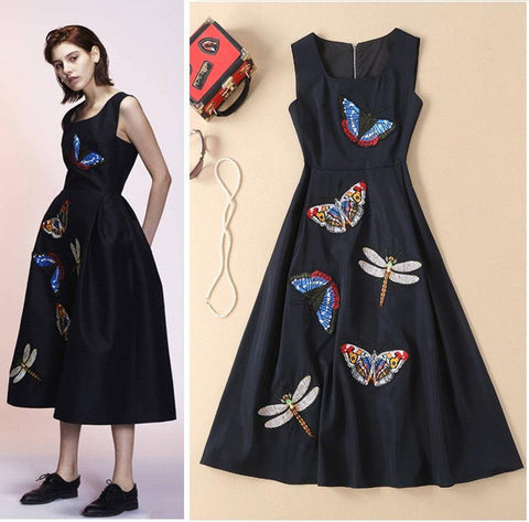 Butterfly and Dragonfly! Sleeveless Embroidered Dress, Women Dress 2019-TownTiger