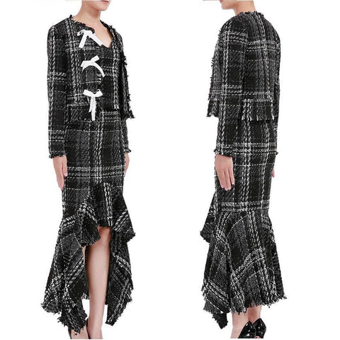 BW Tweed! Elegant Style Plaid Jacket Vest and Skirt 3-Piece Set, Women Tops and Skirt-TownTiger