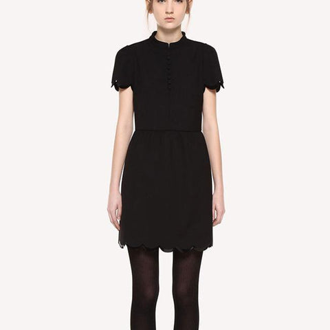Cady Tech! Black Short Sleeve Black Small Dress with Patent leather Edge RedValentino 2019-TownTiger