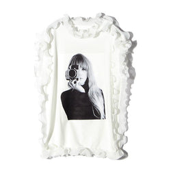Camera Woman! Sleeveless Sweatshirt with Ruffles, Women T-shirt, Street Fashion-TownTiger