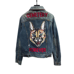 Cemetery Forever Lynx! Jeans Top, Denim Jacket,Unisex Jacket Zipper, Men's Fashion-TownTiger
