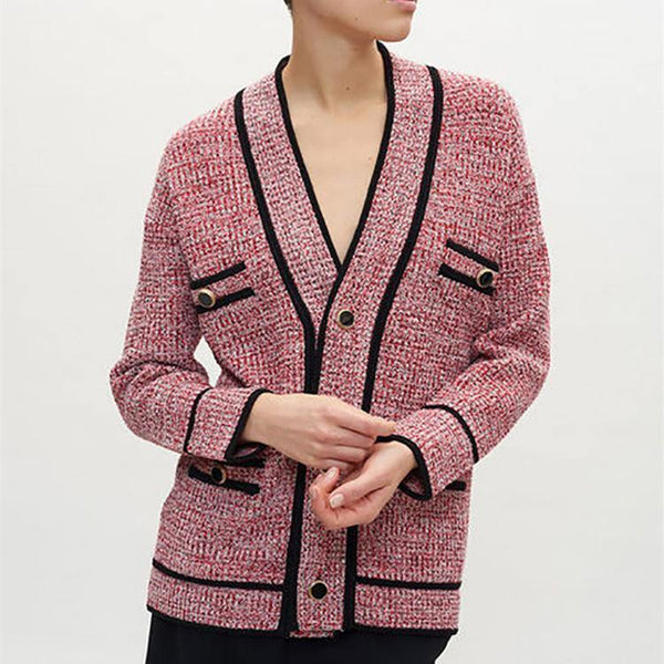 Chanl Style Cardigan Pink! Long Sleeve Knitting Tops, Women Tops Knitwear, Chanel Classic Knits