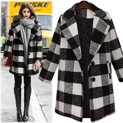 Classic BW Checks! Loose Fitting Woolen Over Coat, Women Coat Plus Size Winter 2018-TownTiger