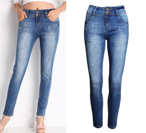 Classic Slim!Skinny Blue Jeans, Denim, Bottoms, Women Jeans, Femme Bottoms, Pants-TownTiger