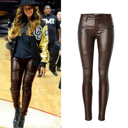 Coffee PU Skinny Motocycle! Leather Pants, Bottoms, Women Jeans, Femme Bottoms, Pants-TownTiger