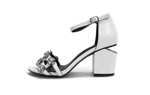 2211fcc450f9 Crystals! High-Heel Leather Sandals with Clear Rhinestones