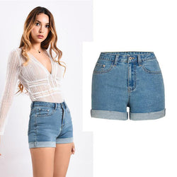 Curled! High Waisted Blue Jeans Shorts, Denim, Bottoms, Women Jeans, Femme Bottoms, Hot Pants-TownTiger