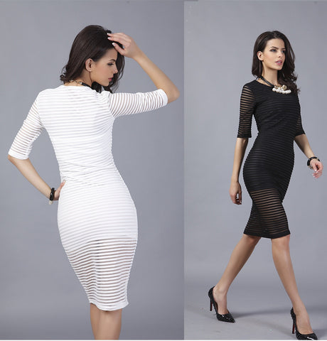 Curve Rib! See Through Tight Striped Dresses with Black and White Color Available,Half Length Sleeve, Mesh Dresses, Ribbed-TownTiger